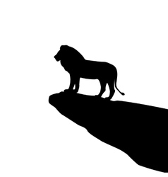 Isolated lion silhouette on the rock vector
