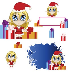 Little elf banner red vector image