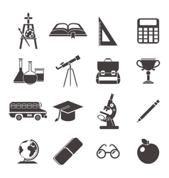 School Black Icon Set vector image vector image