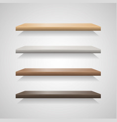 set of wood shelves on grey background vector image vector image