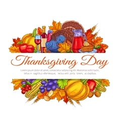 Thanksgiving Day greeting card decoration vector image