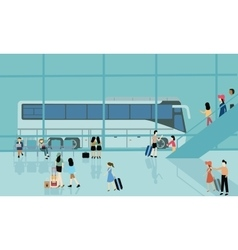 bus terminal station bussy activities people vector image vector image