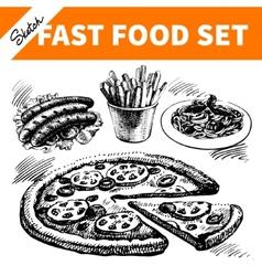Fast food set Hand drawn sketch vector image vector image