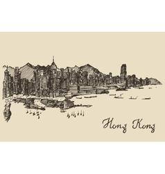 Hong Kong skyline hand drawn sketch vector image vector image