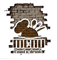 restaurant menu in the brick wall uno vector image