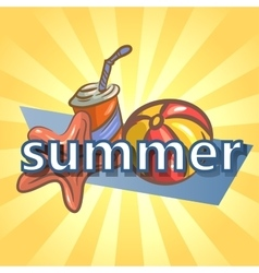 Summer background with ball starfish and drink vector image vector image