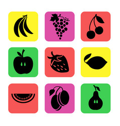various fruits on a color background vector image vector image