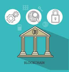 Blockchain and bitcoin technology concept vector