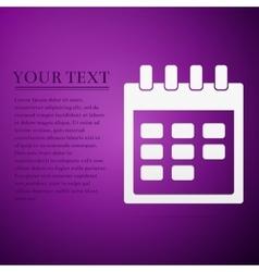 Calendar flat icon on purple background Adobe vector image