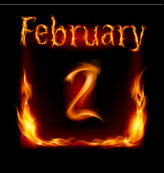 second february in calendar of fire icon on black vector image vector image