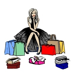 thinking woman in shop vector image