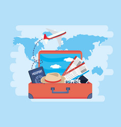 Airplane and passport with tickets inside travel vector