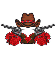 banner with two old revolvers hat and red roses vector image