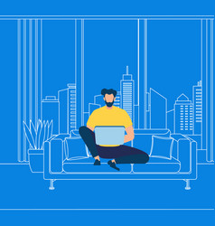 bearded guy working on laptop on blue background vector image