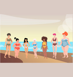bikini girls with colored skin tone standing vector image