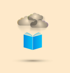 Blue book gray clouds white background vector