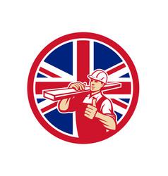 British lumber yard worker union jack flag icon vector