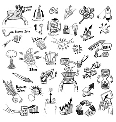 Business Idea concept doodles icons set sketch vector image