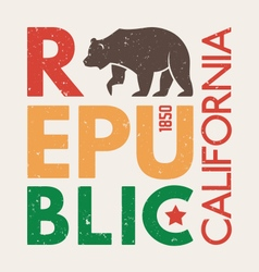 california republic t shirt with grizzly bear vector image