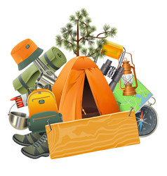 Camping concept with tent vector