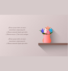 card with bouquet of origami paper tulips in a vector image