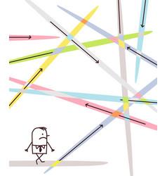 Cartoon businessman lost in directions vector