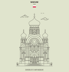 cathedral of st mary magdalene in warsaw vector image