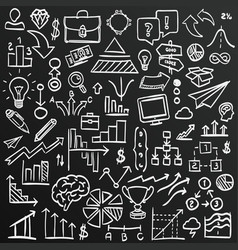 Chalkboard sketch icons set business collection vector
