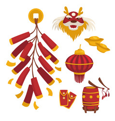 chinese new year celebration traditional symbols vector image