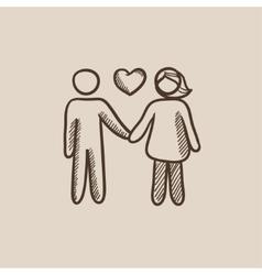 Couple in love sketch icon vector