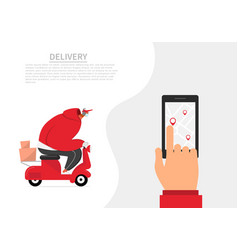 Courier in a medical mask delivers orders vector