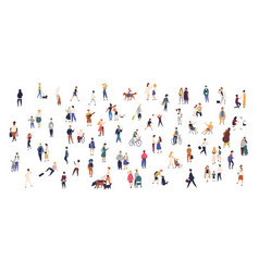 Crowd of tiny people walking with children or dogs vector