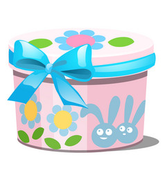 Cute colored gift box with ribbon bow isolated vector