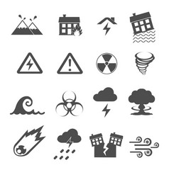 disaster icons set vector image