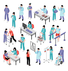 Doctor nurse hospital isometric set vector