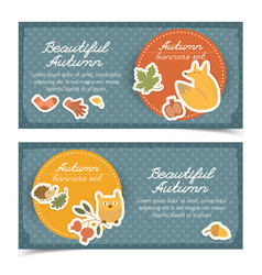 doodle autumn horizontal banners vector image
