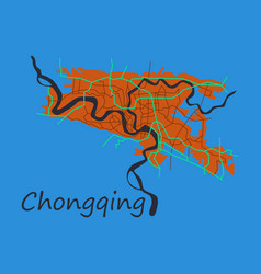 Flat chongqing city map simple flat concept for vector