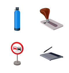 Gas cylinder parking brake and other web icon in vector