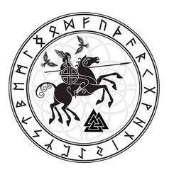 God wotan riding on a horse sleipnir with a spear vector