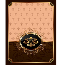 golden ornate frame with emblem vector image