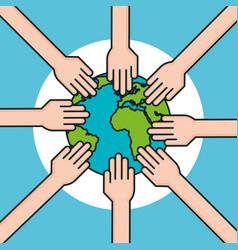 Hands around world symbol peace vector