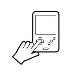 Hands user with portable video game console vector