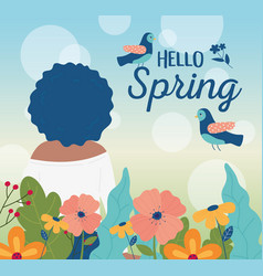 Hello spring back view woman birds flowers vector