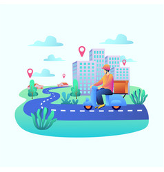 home delivery man in bike concept vector image