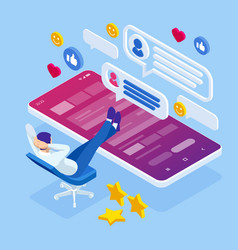 isometric businessman or social media consultant vector image