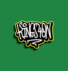 kingston jamaica hand lettering graffiti tag style vector image