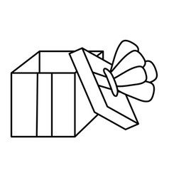 line open present box with crown style vector image