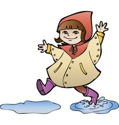 Little girl in rain coat strides through puddles vector image