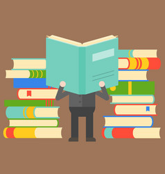 Man reading book in front pile books wisdom vector