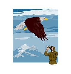 Man Watching Eagle vector